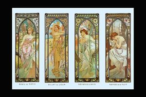 A3+ Times of Day Poster Morning Brightness Evening Reverie Night Print Mucha NEW