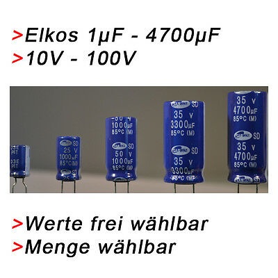 BIS 10V ELKO Kondensatoren 1000 µF 10V Elkos Elektrolytkondensator 1000µF uF