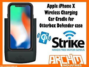 new arrival 39d66 6cac4 Details about STRIKE ALPHA APPLE IPHONE X WIRELESS CHARGING CAR CRADLE  OTTERBOX DEFENDER CASE