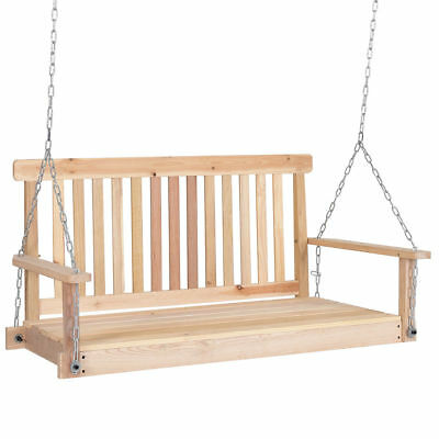 4ft Wood Hanging Porch Swing Bench Patio Garden Deck Seat Chains Ceiling Mount 680196901048 Ebay