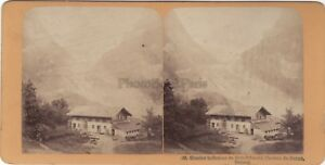 Suisse-Grindelwald-Ghiacciaio-Inferiore-Foto-Stereo-Vintage-Albumina-Ca-1870