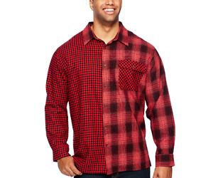 Foundry-men-Big-Tall-Red-Plaid-Mashup-Flannel-shirt-XLT-2XL-3XL-2XLT-3XLT-4XLT