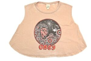 Obey-CELESTIAL-Vintage-Tan-Faded-Distressed-Cut-Off-Crop-Top-Junior-039-s-Tank-Top