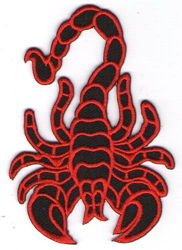 écusson ECUSSON PATCHE THERMOCOLLANT SCORPION ROUGE ET NOIR 9 X 6,5 CMS