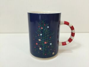 2018-Starbucks-Blue-Christmas-Tree-Candy-Cane-Handle-Coffee-Mug-Cup-12-Fl-Oz
