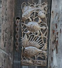 """Fish and Turtle Deep Sea Wall Art, Recycle Outdoor Metal, 7"""" X 17.5"""""""