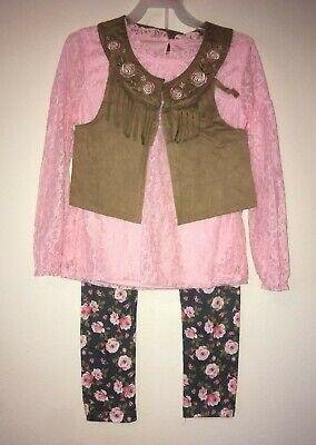 Wonder Nation Boho Vest Lace Top 3-Piece Outfit Set and Legging