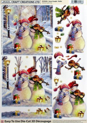 """VIOLIN/"""" SHEET DCD658 CHRISTMAS A4 DIE CUT 3D PAPER TOLE DECOUPAGE /""""SNOW COUPLE"""