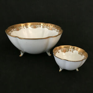 2-Atq-Nippon-Morimura-Hand-Painted-Footed-Bowls-Moriage-Beads-Wide-Gold-Trim
