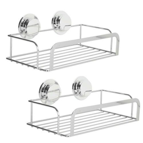 2 x Stainless Steel Stick N Lock Chrome Shower Rack Caddy Bathroom Shower Basket