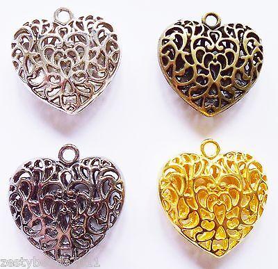 2 Large Filigree Heart Charms, 35mm Pendant, Silver, Gold, Bronze Black