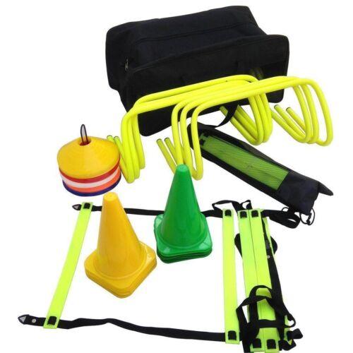 Soocer Training Pro Speed Equipment Kit//Cone//Marker//Ladder Hurdles Carry Bag Fre