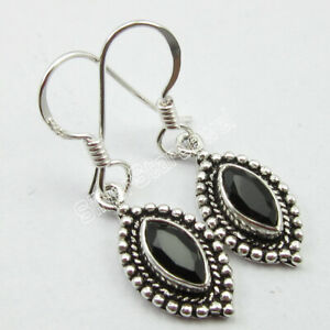 925-Solid-Silver-Natural-Black-Onyx-1-6-tcw-Dangle-Earrings-Ladies-Gems-Jewelry
