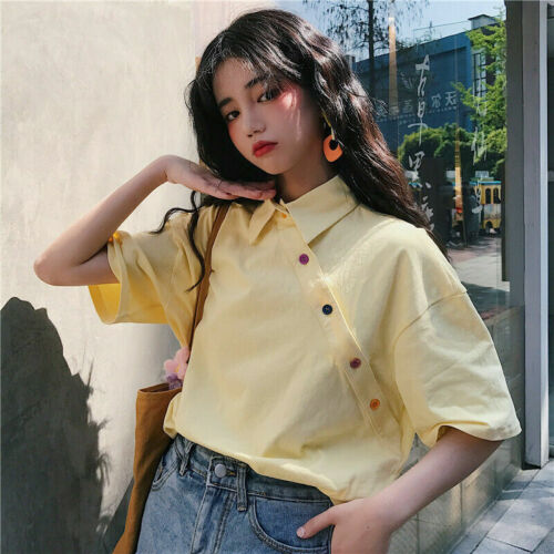 Women Solid Top Shirt Short Sleeve Ladies Fashion Summer Blouse T-shirt Loose