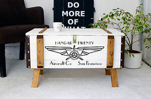 Vintage Couchtisch Holz Beistelltisch Holztruhe Kiste Shabby Chic