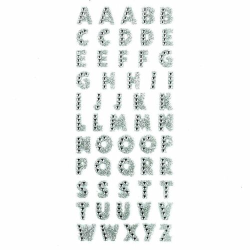 Glitter Crystal Alphabet Self Adhesive Stickers ABC A-Z Letter Words  Sticker