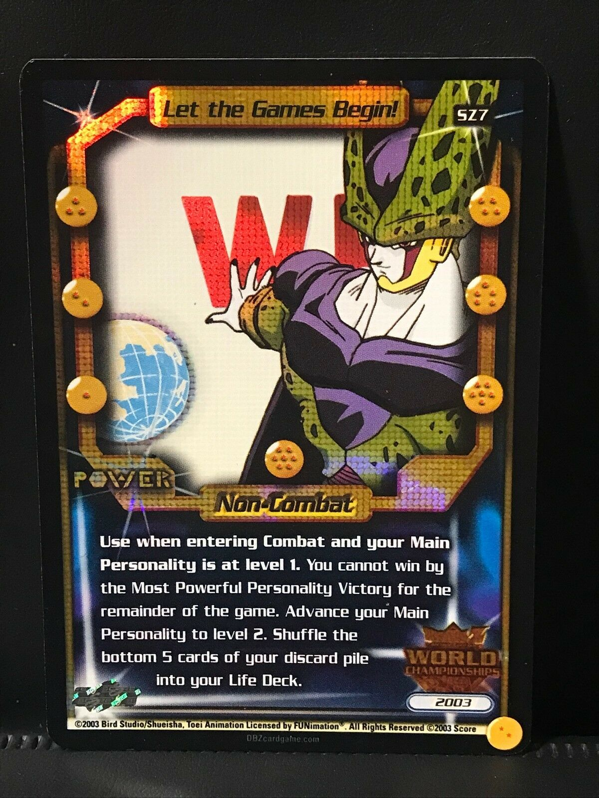 DBZ CCG LET THE GAMES BEGIN  SZ7 AUTHENTIC WORLDS SCORE ULTRA UBER RARE PROMO