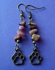 Paw Print Rhodonite Earrings Gemstone Dog Cat Hippy Hippie Vintage Animal Boho