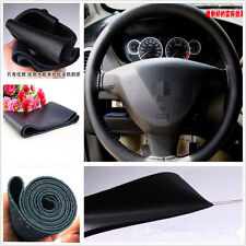 Black Genuine Leather Steering Wheel Cover Sweat Non-Slip Needle Cord For Nissan