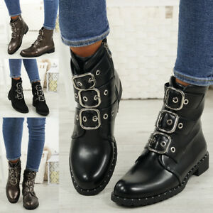 LADIES-WOMENS-BIKER-ANKLE-BOOTS-ZIP-STUDDED-LOW-HEEL-COMFY-SHOES-SIZES