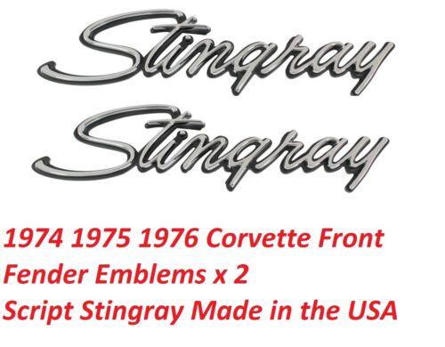 Corvette Front Fender Emblem Script Stingray Made in the USA 1974-1976 Pair NEW