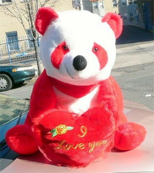 American Made Giant Stuffed rosso Panda Bear 32 Inch Soft with I Love You Heart
