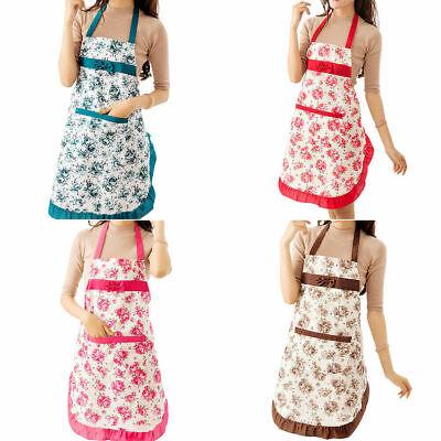 Women Floral Waterproof Kitchen Bib Aprons Cooking Baking Restaurant Apron