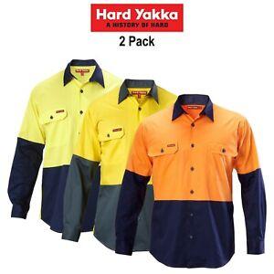 Mens-Hard-Yakka-Koolgear-2-Pk-Hi-Vis-Long-Sleeve-Work-Shirt-Vented-Light-Y07558