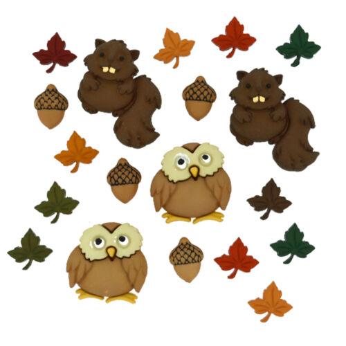 DRESS IT UP Boutons Woodland CRITTERS enfants BOUTONS bois 17 pièces 33-7948