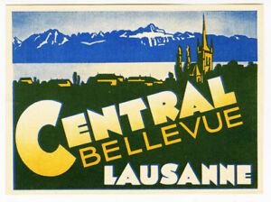 Antica-Etichetta-Valigia-Hotel-Centrale-Bellevue-Lausanne-Old-Etichetta-Bagagli