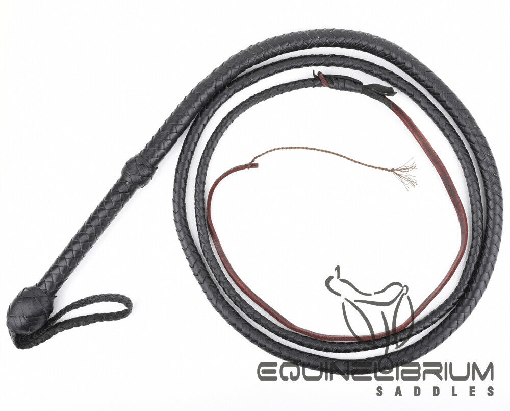4 Foot 8 Plaits Genuine Cowhide Leather Bullwhip by Equinelibrium