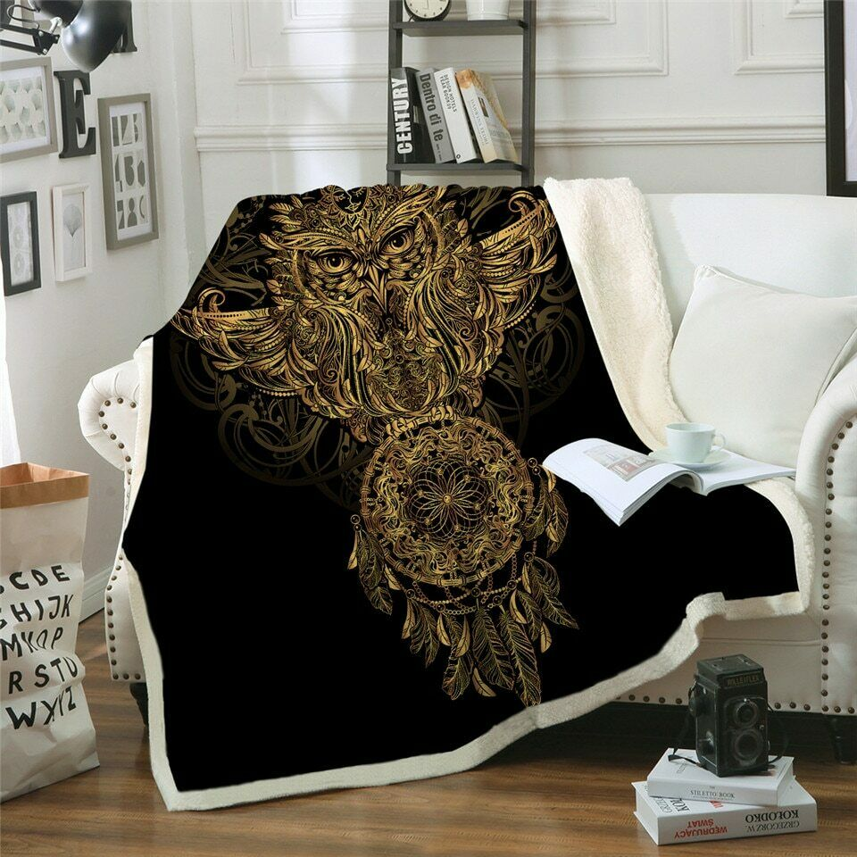 golden Owl Bohemian Animal Sherpa Plush Throw Blanket Fleece Bed Sofa Couch