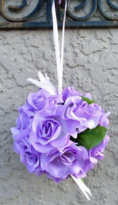12-FLOWER-BALLS-LILAC-WISTERIA-LAVENDER-Kissing-Ball-Wedding-Flowers-Pew-Bows