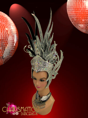 Silver glitter mirror tile trimmed crystal accented Mohawk Diva Headdress