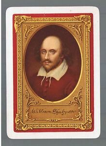 Swap Playing Cards 1  VINT  WIDE  PORTRAIT WILLIAM  SHAKESPEARE   R10  AWESOME