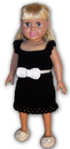 """LITTLE BLACK DRESS CROCHET PATTERN FITS AMERICAN or 18/"""" GIRL DOLLS"""