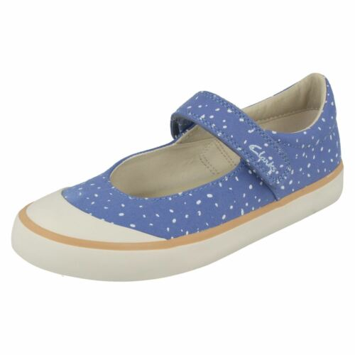 Clarks Jnr Comic Bombas Canvas Azul Buzz Doodles Casual Chicas Zq4wvd4
