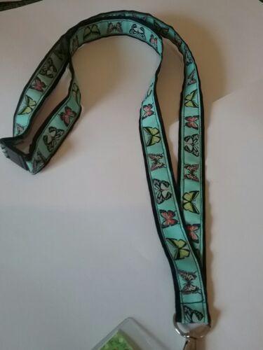 Butterfly jacquard black ribbon lanyard /& clear ID badge holder teacher gift