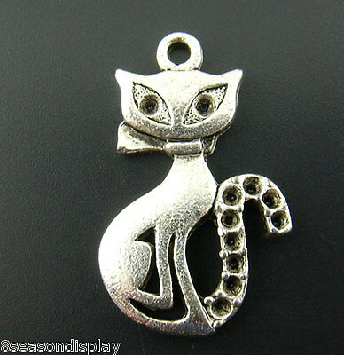 "20PCs Silver Tone Cats Charms Pendants 25mmx16mm(1 x 5/8"")"