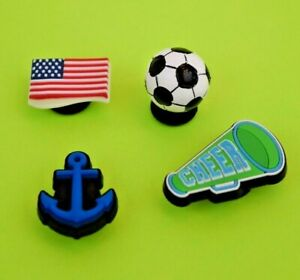 Crocs-Jibbitz-Charms-3-D-Soccer-Ball-Anchor-Flag-Megaphone-ALL-4-for-8-99-NEW