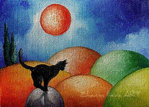 Original ART ACEO oil PAINTING black cat colorfull landscape NAIVE ART miniature