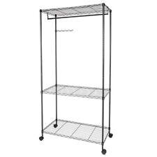 3 Tier Closet Organizer Garment Rack Clothes Hanger Home Shelf W/Hanger  Black