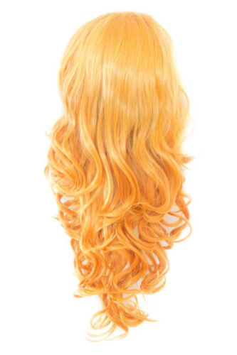 """Details about  /25/"""" Curly Layered Cut with Widow/'s Peak and no Bangs Honey Blonde Wig NEW"""