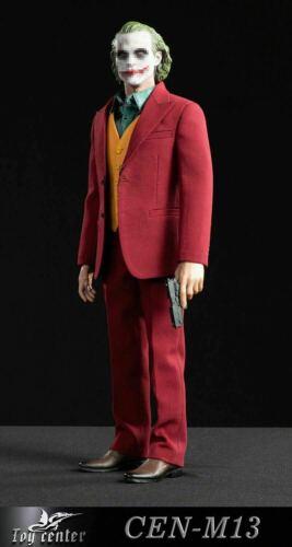 1//6 Joker Red Suit Clown Costume Model Vest Shirt Belt Shoes Set F Action Figure