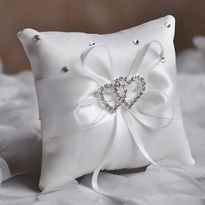 Image Is Loading Home Double Heart Satin Ring Pillow Wedding
