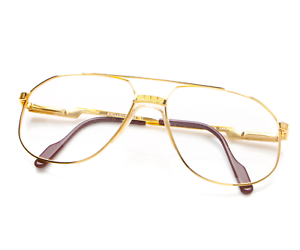 Vintage-Hilton-Exclusive-024-C1-Gold-Pilot-Eyeglasses-Optical-Frame-Lunettes