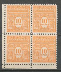N-629-BLOC-DE-4-10f-Orange-Arc-de-Triomphe-cdf-Neuf-SUP-X1141