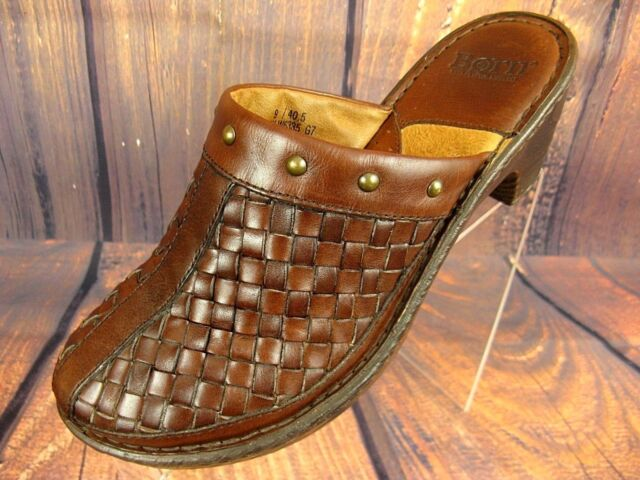 Born Women's Shoes Mules Clogs Slides Brown Leather Casual Comfort Slip On 9M