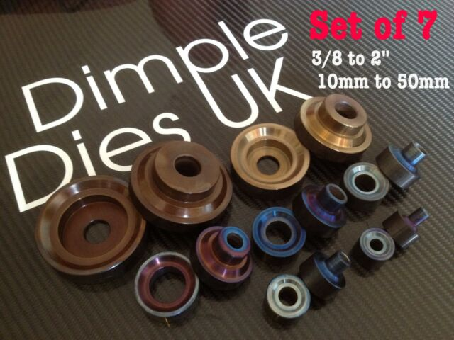 """7 Dimple Die Set 3/8 1/2 5/8 3/4 1"""" 1 1/2"""" 2"""" Hole Swager Flare Autograss"""
