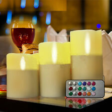 """New Set of 3 LED Ivory Color Flameless Candles With Remote Control 4"""" 5"""" 6"""""""